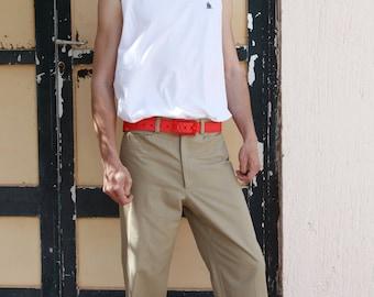 Vintage cotton beige high waist men's pants.size 40