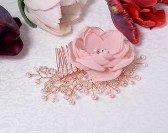 Wedding Hair Comb, Bridal Headpiece, Rose Gold Hair Comb, Crystal Hair Pins, Rose Gold Wreath,Pearl Hair Comb, Bridal Hair FLower,Hair Piece