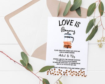 Love Is Brewing Couples Shower Invitation   Bridal Shower Invitation Deposit