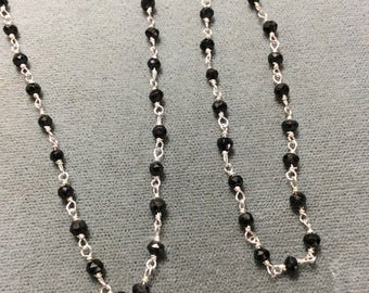 Black Spinel Sterling Silver Chain, 3-4mm, sold by the foot