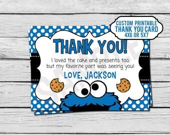 Cookie Monster Birthday Thank You Card - Custom - Digital File