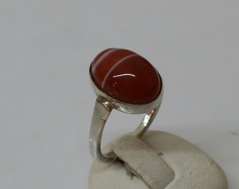 16.9 mm silver ring 835 agate red nostalgia SR503