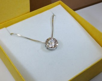 Pendant silver round crystal clear vintage SK656
