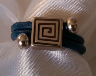 Leather ring / leather wrap ring LW2-13