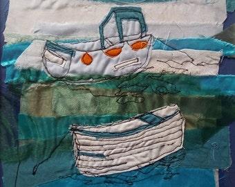 Cornwall Textile Boat Scene