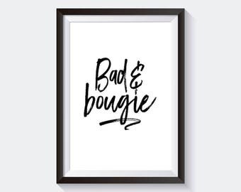 Bad and Bougie Black Script Print Digital Download, Printable Poster, Digital Print, Gold Foil Print