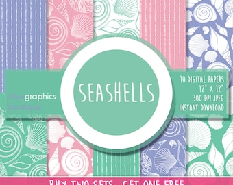SEASHELLS Digital Paper, Buy 2 Get 1 Free, Free Commercial Use for Small Business, Shell scrapbook, Baby printable, Marine Life, beach