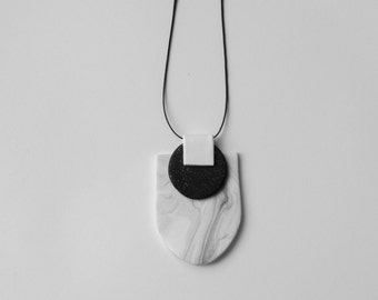 Black and white polymer clay necklace. Modern, unique jewelry.