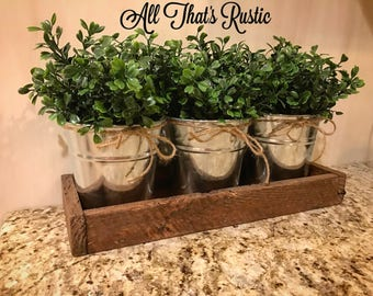 Galvanized Decor, Galvanized Buckets, Metal Decor, Boxwood Decor, Centerpiece, Rustic Centerpiece, Planter, Succulent Planter, Herb Planter