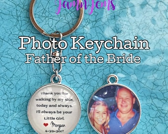 Father of the Bride Gift, Photo Keychain, Personalized Photo Charm, Gift for Dad, Custom Wedding Gift, Gift from Bride to Father, Photo Gift