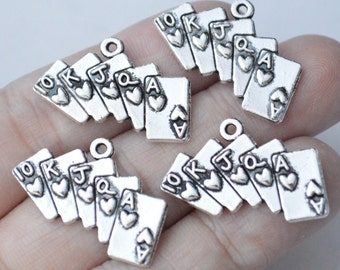 6 Pcs Playing Cards Charms Antique Silver Tone 26x16mm - YD1413