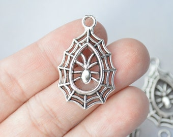 6 Pcs Spider Web Charms Antique Silver Tone 21x34mm - YD1723