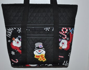 New!  Frosty the Snowman - Holiday -  Embroidered Frosty  Pre-quilted Handbag - Shoulder Bag - Tote Bag