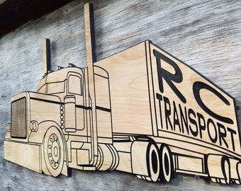 Big Rig Semi Truck 18 Wheeler Wooden Sign Personalized Wall Sign