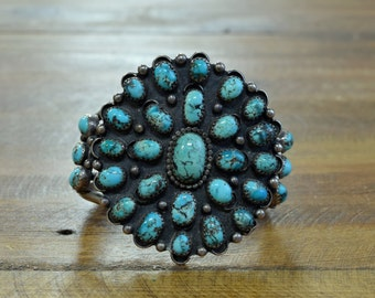 Vintage Navajo Sterling Silver And Turquoise Cluster Cuff Bracelet