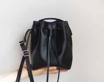 Tiny soft vegan leather bucket bag