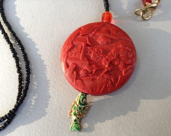 Carved Cinnabar Pendant with Wiggle Fish Dangle Necklace