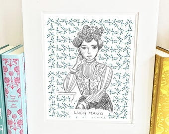 Lucy Maud Montgomery - illustration - wall art - author - ALM