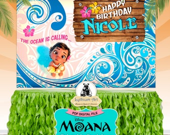 Moana Backdrop - Moana Printable Backdrop - Moana Decorations - Sweet Table Decoration - Moana Birthday Party - Moana Photobooth