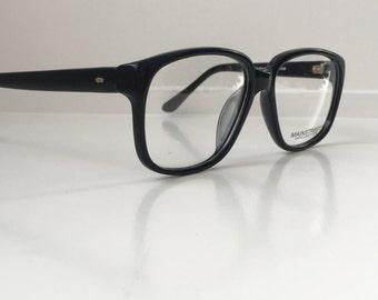 Black Vintage Glasses, Oversized Hipster Eyeglass Frames, Antique Men's Square Wayfarer Horn Rim Eyeglasses, New Deadstock NOS 120