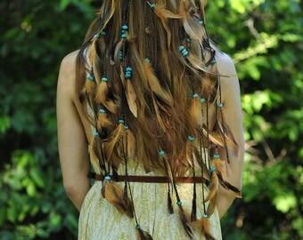 feather headdress, feathers, handmade, hippie, boho, gypsy, native american, hairdress, braids, brown, boho chic