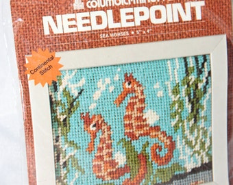 "Quirky Sea Horse Columbia Minerva Needlepoint Kit -- 5"" x 4"" -- Sea, Ocean, Seahorse -- 1975"