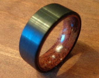 tungsten ringmens wedding band tungstenwedding bands men tungsten with woodblack - Wooden Wedding Rings For Men
