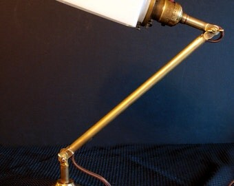 Antique Lighting: Circa 1920 adjustable solid brass desk lamp with milk glass shade