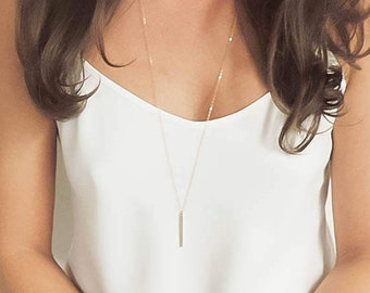 Long Bar Necklace, Simple Everyday Necklace, Gold Bar Necklace, Minimal Jewelry - Silver or Gold