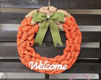 REDUCED! READY to ship! Burlap Pumpkin Wreath - Fall wreath, Pumpkin wreath, burlap fall wreath, Thanksgiving pumpkin wreath