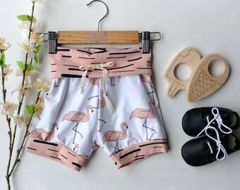 PRE ORDER Organic Cotton shorts  Girl, Infant, baby shorts +  foldover waistband shorts - children's shorts + baby shorts + yoga waistband