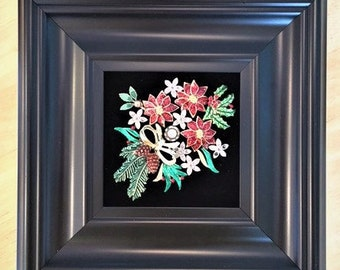 Vintage & Costume Jewelry Framed Flower Art