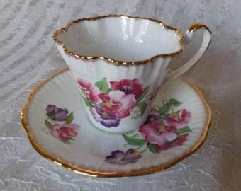 Pretty Sweet Peas Salisbury Bone China  Tea Cup and Saucer