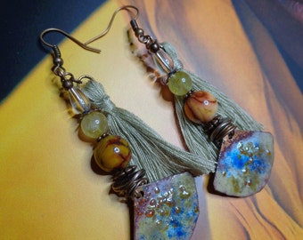 Bohemian/ethnic earrings, copper enamel artisan, stones, thin, cotton and copper metal.