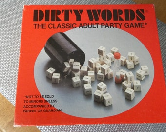 DIRTY WORDS 70's ADULT party game, never played. vintage game, unopened dice