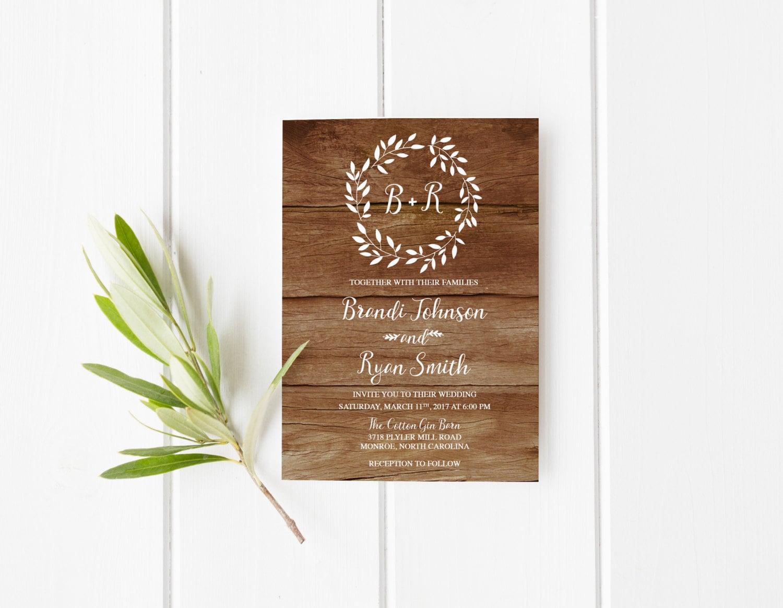 Overnight Wedding Invitations: Rustic Wedding Invitation Boho Wreath Printable Wedding