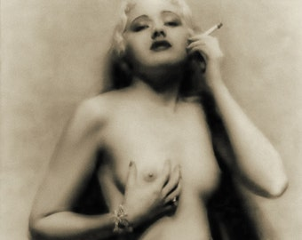 Vintage photo nude woman smoking risque sexy breasts erotic photography antique photograph erotica 1920s-PRINT