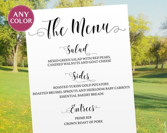 Wedding menu board Large menu sign large Wedding menu sign Wedding menu poster Wedding printable Wedding sign Menu printable