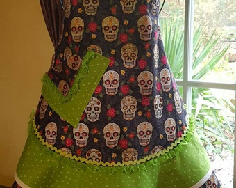 ON SALE: Girls Sugar Skull Sweetness 'Sassy Sisters' style cooking apron.