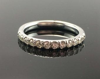 French Cut Diamond Wedding Band - 14K White Gold Diamond Wedding Ring - 14K Art Deco Wedding Ring - Half Eternity Diamond Anniversary Ring