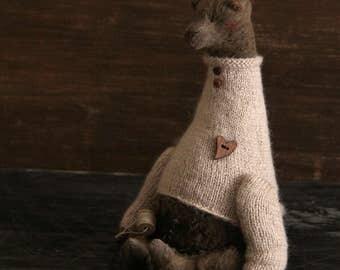 Teddy Bear Brownie - Handmade Toys Animals Knitted Sweater Artist toys Home Decor - 8,5 Inch