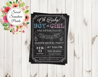 Chalk Board Gender Reveal Invitation - Boy -Girl, Gender Reveal Party, He or She, Him or her, Bows or boots, tutus or ties