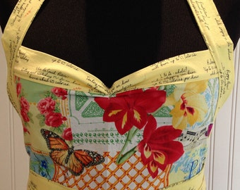 Women's ruffled full apron Paris theme, Paris collage print, yellow, red, white, blue, french words, food phrases, butterflies, roses, birds