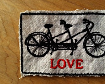 Embroidered Tandem Bike Love Upcycled Canvas Iron On Jacket Patch Wedding Favor