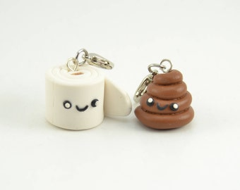 Toilet Paper and Poop Adorable Kawaii BFF charms/keychain. Polymer clay-VVsGrotto