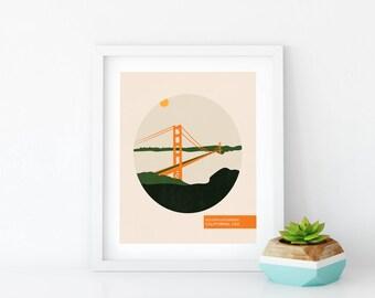 Golden Gate Bridge - Travel Posters Vintage - San Francisco Poster - Art Print - Gift For Traveller - Minimalist Poster - Wall Hanging