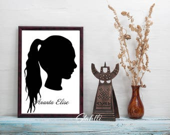 Custom Silhouette Portrait, Silhouette Portrait, Silhouette Pictures, Anniversary Gifts, Custom Portrait, Digital Download Art, Custom
