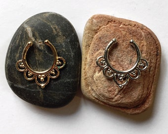 Gold Silver Fake Septum Piercing Jewelry Hippie Boho Gypsy