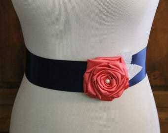 Navy Blue & Coral Single Flower Sash, Coral Flower Girl Sash, Navy Blue Flower Girl Sash, Navy Blue Flower Sash, Toddler Flower Sash