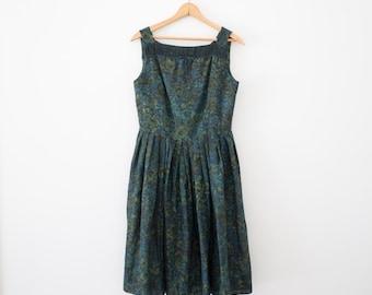Emerald Green Party Dress / 1950's Cotton Dress / Women's Vintage Clothing